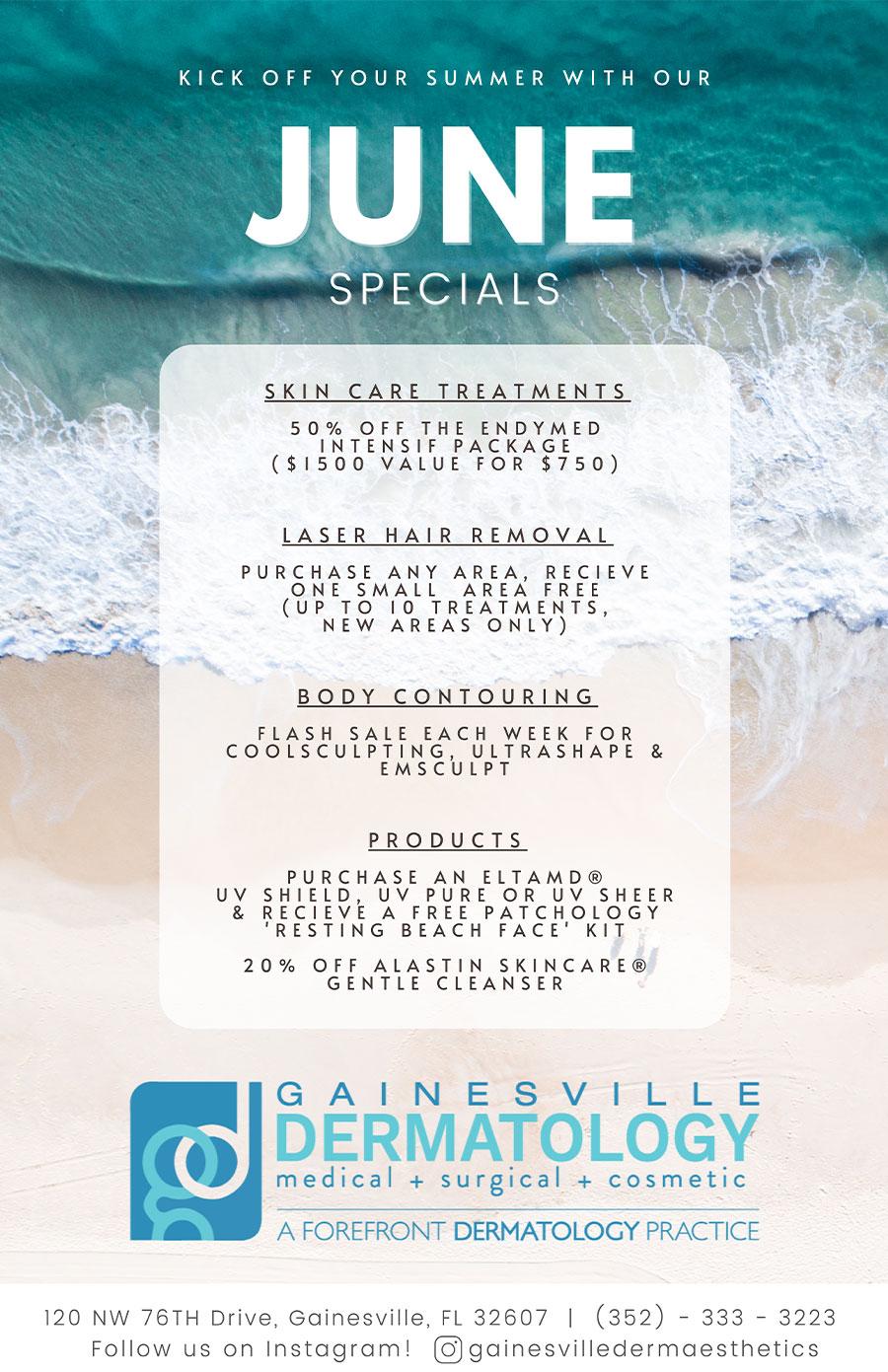 Dermatology Specials for June 2021 in Gainesville