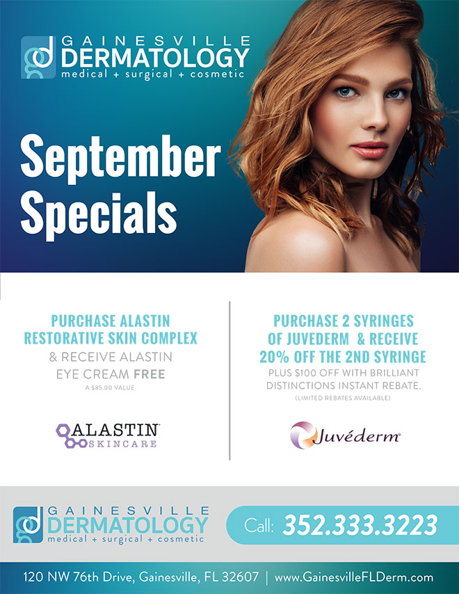 Dermatology Specials for September 2019 in Gainesville