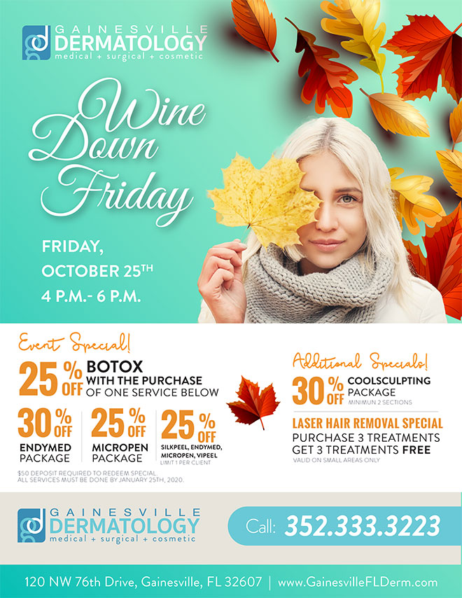 Wine Down Friday Dermatology Event in Gainesville